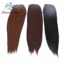 BeautyTown 4''*4'' Heat Resistant Kanekalon Futura Fiber Hair High Density Hand Tied Free Part Synthetic Lace Closure(China)