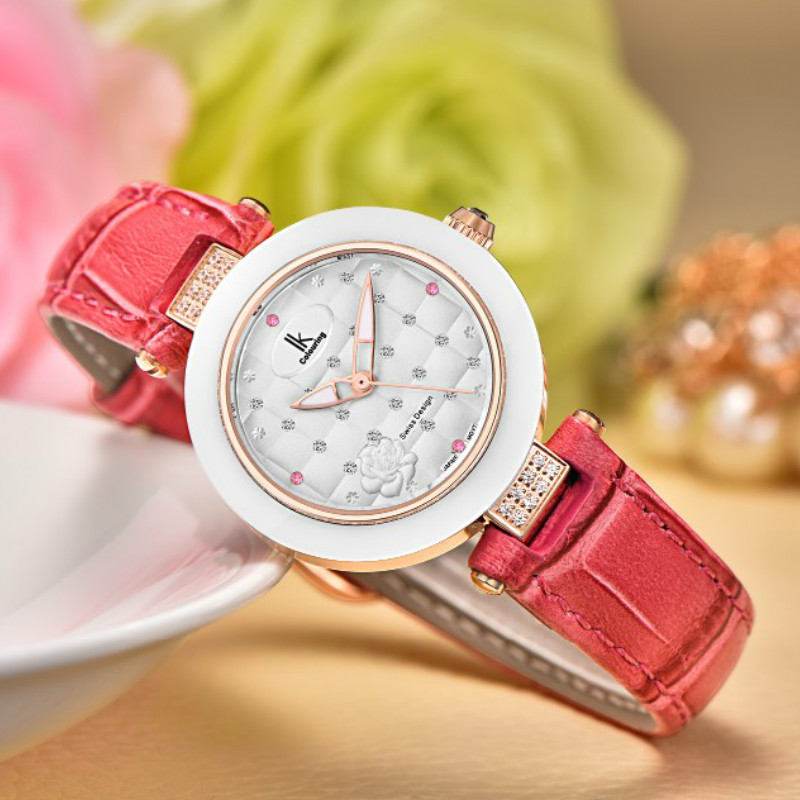 IK Colouring White Ceramic Bezel Women Japan Quartz Waterproof Genuine Leather Ladies Watches with Gift Box<br>