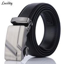 Lucidity Men Automatic Buckle Belts PU Leather Practical Business Man Belts Classic Popular Male Brand Belts Black(China)