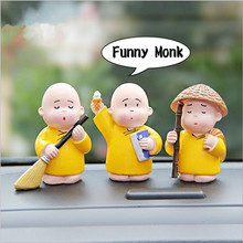 3pcs/set resin Funny Little Monk Figurines Car Dolls Decoration,Gongfu Monks Car Decor Tableware & Ornament Free shipping(China)