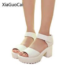 White Women Sandals Hook & Loop 2016 Platform High Heels Lightweight EVA Cut-Outs Sandals Open Toe Black X939 35(China)