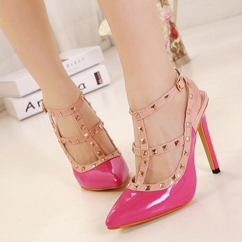 New 2106 Hot Women Pumps Ladies Sexy Pointed Toe High Heels Fashion Buckle Studded Stiletto High Heel Sandals Shoes Large Size40<br><br>Aliexpress
