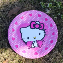 10pcs Happy Birthday Cartoon hello kitty paper plates child kids girls birthday party 7'' printing round plates suppliers