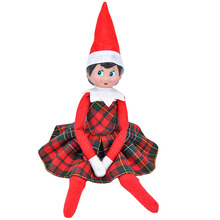 E-TING 2017 New Doll Clothes Claus Couture Clothing For Elf on the Shelf Red-Green Plaid Dress Girls Suit Doll is not included
