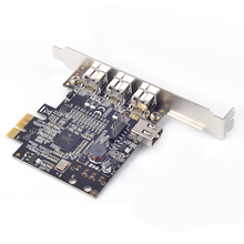 PCIe PCI-e x1 to 1394b FireWire Controller Card 3 external 1394b + 1 shared internal 1394a ports Chip TI XIO2213(China)