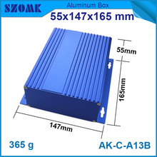 1 piece free shipping wall wounted aluminum enclosure blue distribution box for pcb  55*147*165mm