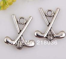 Vintage Silver Golf Stick Ball Charms Pendant Bead DIY For Jewelry Making Findings Bracelets Alloy Accessories Gifts 10pcs H161(China)