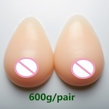 Buy 600g/pair New Silicone Breast False Fake Boob Bust Crossdresser Silicone Fake Breast Forms Full Boobs Enhancer Dresser B Cup