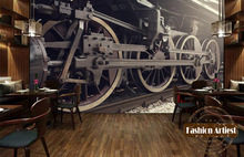 Custom 3d vintage wallpaper mural steam locomotive train machinery tv sofa bedroom living room cafe bar restaurant background(China)