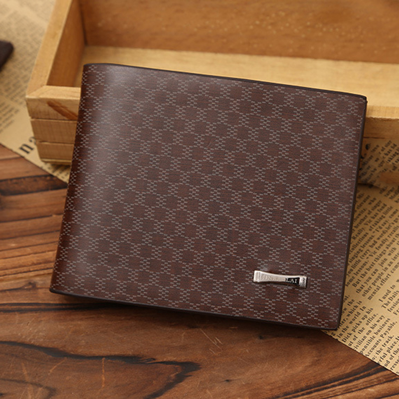 2017 100% Top Quality Business Leather Men Wallets Bifold Plaid Short Wallet Luxury Credit Card Holder Purse Free Shipping P306<br><br>Aliexpress