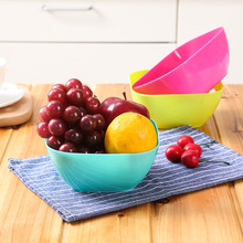 Food-grade Plastic PP Square Salad Bowl Fruit Plate, Fruit Plate Seeds Small Snack Candy Dish Dried Fruit Bowls Blue Green Pink