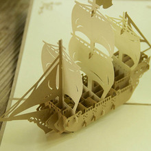 3D Pop UP Greeting Card Paper Sculpture of Model Ship Craft Paper Kids Gifts Christmas Decoration Festive Party Supplies