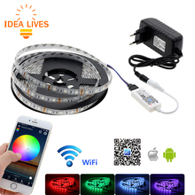 WiFi Control RGB LED Strip 5050 Set Home Decoration Neon Light with Mini WiFi RGB Controller + 12V Power Adapter(China)
