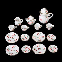 15pcs British Style 1/12 Dollhouse Miniature Dining Ware Porcelain Tea Set Dish Cup Plate Cherry Hot Sale(China)