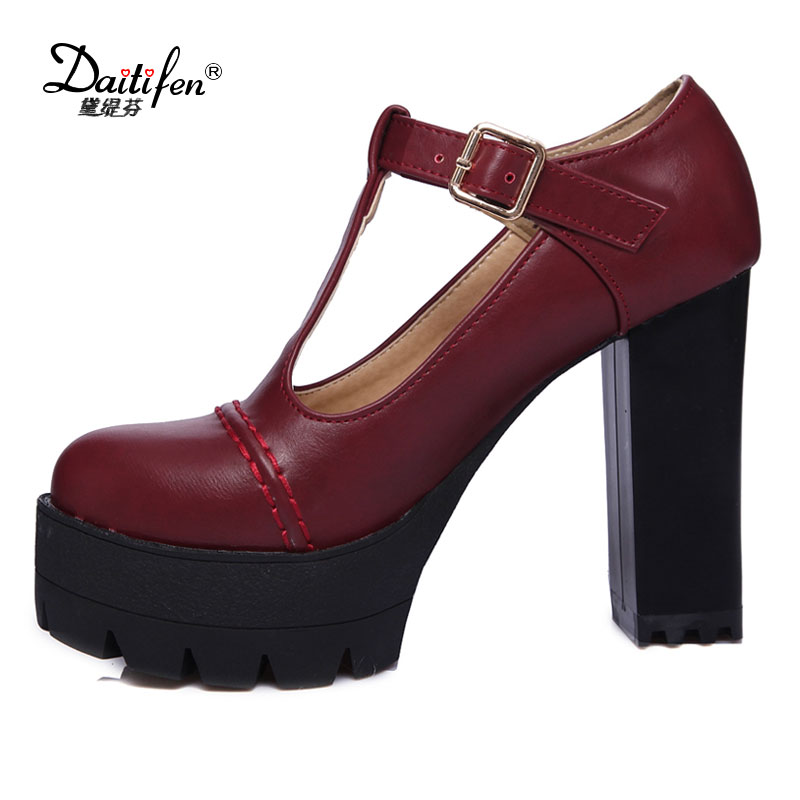 Daitifen 2017 new Spring Autumn Casual High-heeled shoes sexy Ruslana korshunova Thick heels platform pumps Black Red Size 43<br>