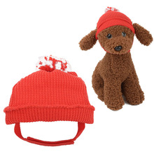 Christmas Pet Hat Cotton Pet Red Knitted Party Hat Cute Cat Dog Woven Hat with Adjustable Buckle and Pompom for Pet Supplies