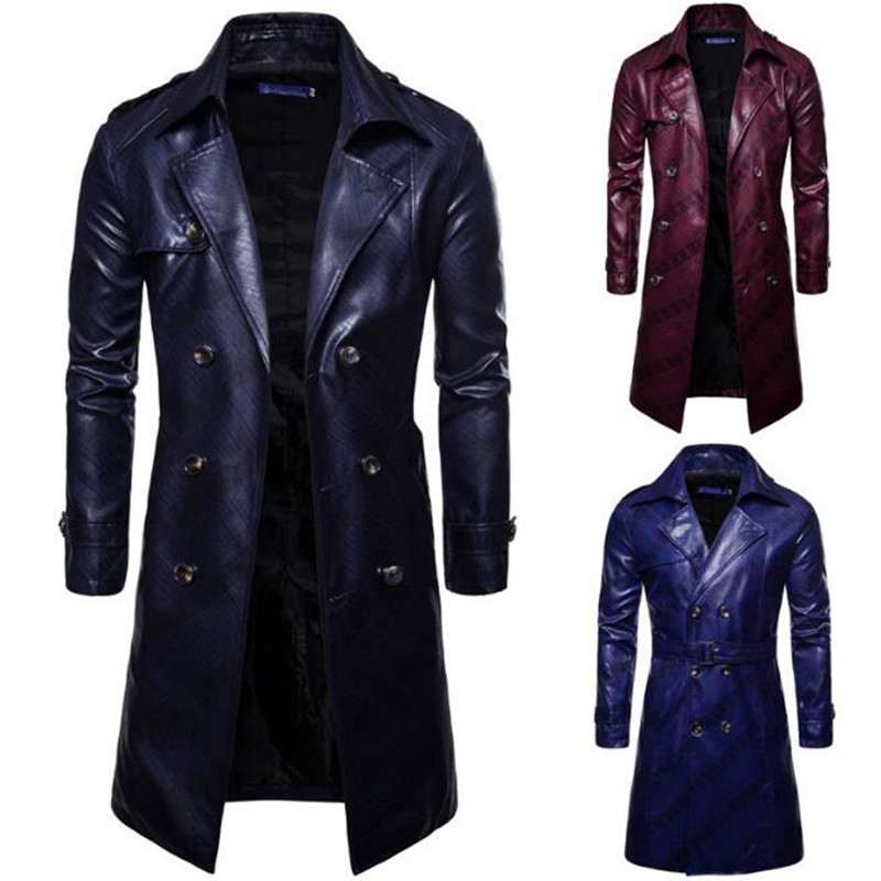 Mens Long PU Leather Coat Slim Fashion Winter Leather Jacket Men Motorcycle Biker Brand Clothing Overcoat Chaqueta Cuero Hombre