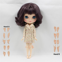 nude doll short wavy hair dark purple hair with bangs joint body joint doll factory blyth doll 130BL9219