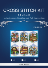 2TH Top Quality Lovely Hot Sell Counted Cross Stitch Kit Christmas Village Ornament dim 08785 39X47CM, 14CT(China)