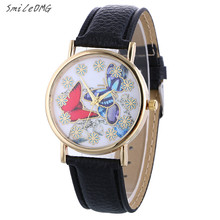 SmileOMG Hot Marketing Women's Graceful Butterfly Pattern Ladies PU Leather Band Quartz Wrist Watch New Free Shipping,Sep 21(China)