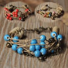 Fashion Ethnic Style High Quality Original Ceramic Bronze Adjustable Handmade Porcelain Beads Rope Bracelets For Women