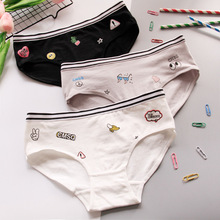 Buy Panties female cotton waist women's cotton triangle bottom pants full cotton pants fruit print cartoon letters lovely girl