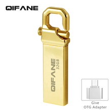 QIFANE All metal U Disk 16G pen drive 4G 8G Hooke Key chain USB Flash Drive 32GB 64G business gift memory stick Free shipping