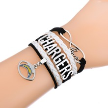 Skyrim 10pcs High Quality Infinity Love  San Diego Chargers Football Team Bracelet By Sports Retail Center