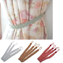 House Window Curtain Tieback Creative Knitted Braided Curtain Cord Rope Buckle(China)