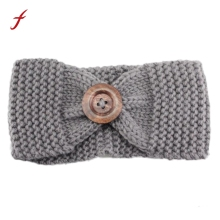 Promotion! Women Button Warm Winter Fashion Knit Headband Wool Knitted Headwrap Headband Ear Warmer Hair Muffs Band Accessories(China)