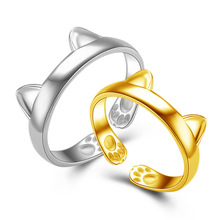 2017 Newest Cute Kitty Cat Ear White Gold /Yellow Gold Color Adjustable Ring For Women Fashion Jewelry Dropshipping Wholesale