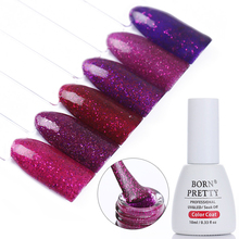 BORN PRETTY 10ml Soak Off UV Gel Polish Base Coat No Wipe Top Coat Purple Glitter Temptation Series UV LED Nail Art Gel Polish