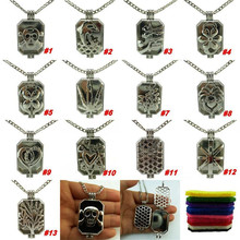S1-13 Free Shipping Antique Silver Leaf Tree Flower Cactus Animal Bird Dolphin Heart Flag Perfume Locket Necklace 24''(China)