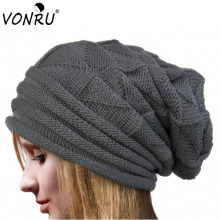 Spring Winter Women Beanie Hats Unisex Knitted Warm Wool Skullies Casual Slouch Baggy Gorros Solid Color Caps Christmas Gift