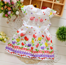 Floral print baby Dress with flower hawaii children clothing for girls  2016 new style Fashion Summer Baby Dress