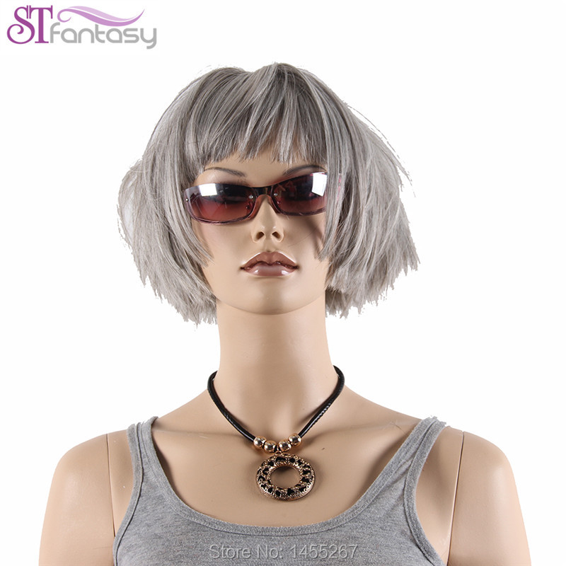 Free Shipping High Quality  13   Short Gray  Wigs For women With Free Cap<br><br>Aliexpress