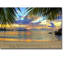 NICOLESHENTING Sunset - Hawaii Beach Ocean Sea Waves Art Silk Poster Print 13x20 24x36inch Pictures Living Room Coconut Tree 008