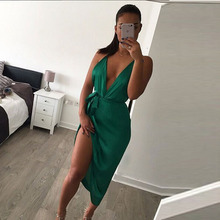 Sexy Women 2016 Backless Bodycon Pencil Dress irregular Woman New Arrival satin Deep V Neck Side slit Halter Dress Vestidos(China)