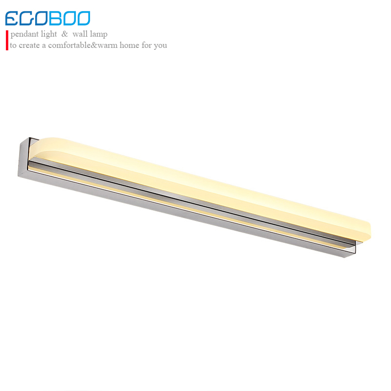 EGOBOO Modern Style 42CM 52CM LED Bathroom Lights Fixtures Featured Acrylic Wall Sconces Stainless Steel With Optional Switch