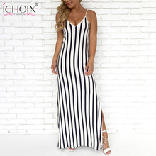 Buy Slit Maxi Deep V-neck bandage dress Female 2018 Summer Women Long Sexy Striped Dresses Party Spaghetti Strap Dress vestidos for $15.28 in AliExpress store