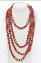 "DYY+++818 natural 90"" 10mm round red sponge coral beads necklace"