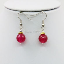 6-14mm Accessory Crafts Red Chalcedony Stone Earrings Drop Earrings Round Beads Women Jewelry Making Gifts 15inch Fitting Female(China)
