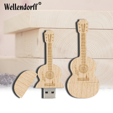 Wooden Guitar USB Flash Drive usb 2.0 pen drive 64gb 32gb 16gb 8gb 4gb Memory stick Flash drive U Disk musical gift(China)