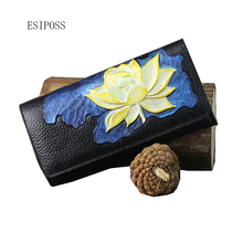 Famous brand design retro genuine leather women wallet women clutch bag fashion 3D embossed flower wallet ladies Original purse(China)