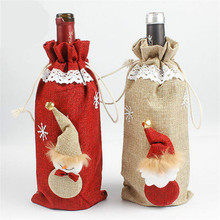 Christmas Santa Tree Red Wine Bottle Sets Cover Storage Bags Elf Champagne Xmas Home Decoration Bottle Case Covers Bag Slipcover