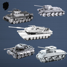 M1 ABRAMS TANK SHERMAN TIGER I T-34 Military war classic collection 3D Puzzle Stainless steel alloy assembly model 2 sheets