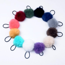 Women Girls 8cm Soft Furry Hair Ties Ball Rope Hair Band Pom Poms Elastic Band Hair Accessories
