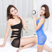 Cheap Hot Sexy Lingerie Women Exotic Babydolls One Shoulder Flirting Lingerie Couple Game Nightwear See Through Sleepwear(China)