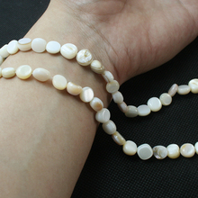 46pcs White Round Flat Shape Natural Freshwater Shell Beads MOP Beads Fit Bracelets Necklaces Jewelry DIY Craft For Female Gift(China)