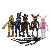 2017 New Arrival 6 PCS Five Nights At Freddy's PVC Action Figure Toy Foxy Gold Freddy Chica Freddy With LED Lights